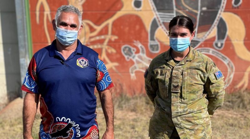 Aboriginal Community Liaison Officer with NSW Police, Uncle John Skinner, with Corporal Ashleigh Shannon, who were part of a remote vaccination team in northern NSW. Story by Flight Lieutenant Eamon Hamilton.