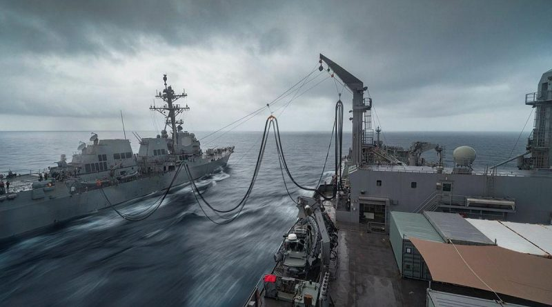 HMAS Sirius conducts a replenishment at sea with USS Stockdale during Indo-Pacific Endeavour 21. Story by Captain Peter March. Photo by Leading Seaman Sittichai Sakonpoonpol.
